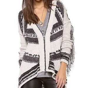 Free People geo fringe zip-up hooded sweater S